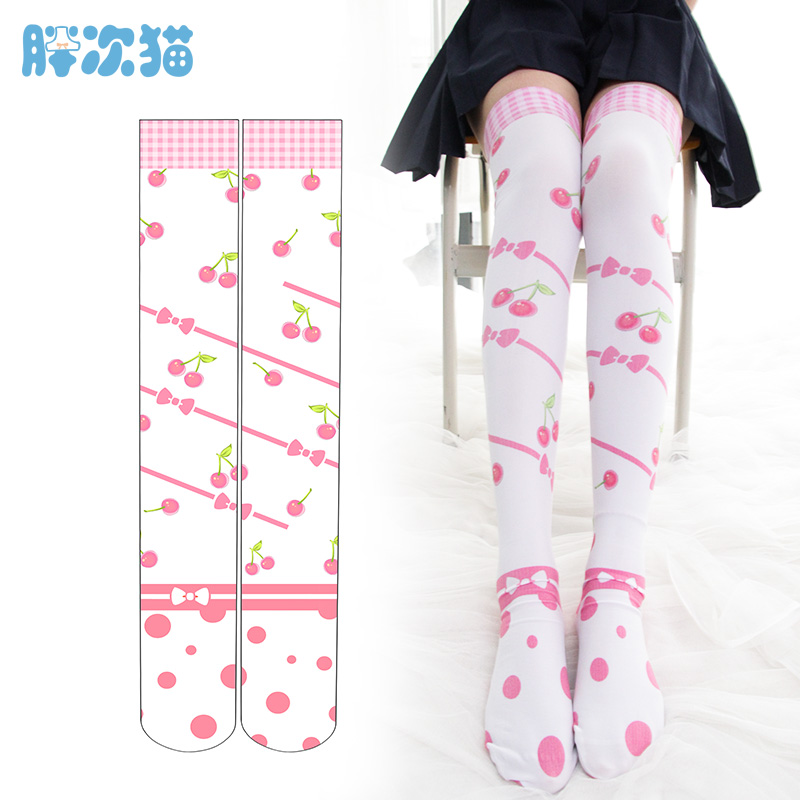 Princess Sweet Lolita Stockings Originally Printed Cherry Knee Stockings Velvet Thigh High Stockings Cute Women LHCP015