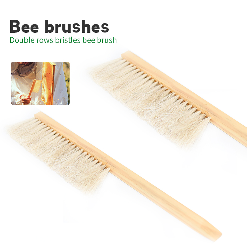 Beekeeping Tools Wood Bee Sweep Brush Two Rows Horsetail Hair New Bee Brushes Beekeeping Equipment For Apiculture
