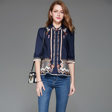 Luxury Women's Tops Shirt 2017 New Fashion Half Sleeve Ladies Blue / White Vintage Slim Flower Hollow Out Embroidery Blouse