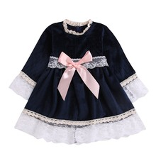 Baby Girls Lace Dresses Long Sleeve Cute Girls Dress For Kids Children Princess Silk Dresses Spring цена
