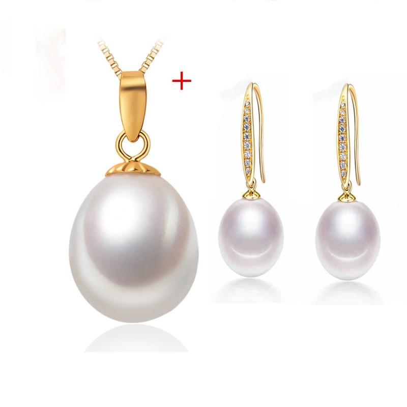 [NYMPH] Perlenschmuck Set Natürliche Süßwasser Perlenkette Anhänger Ohrringe Feine Party Weihnachtsgeschenk Mädchen Frauen [tz1031]