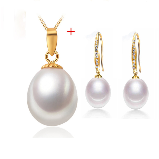 [NYMPH] Pearl Jewelry Set Natural Freshwater Pearl Necklace Pendant Drop Earrings Fine Party Christmas Gift Girl Women  [tz1031]