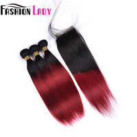 FASHION LADY Pre Colored Malaysian Bundles Hair With Closure Straight Human Hair Weave T1B/Burg 3 Bundles With Closure Non Remy