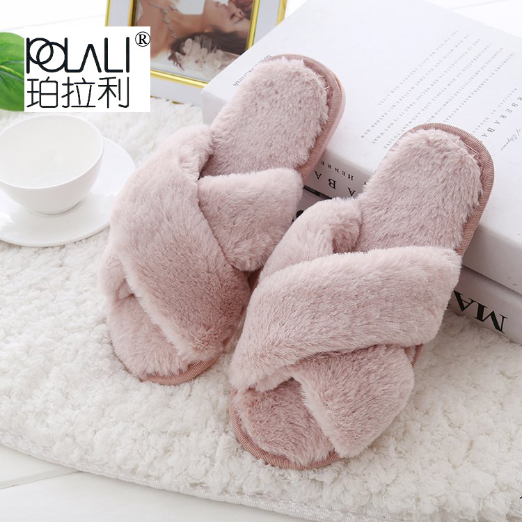 Female Slipper Shoes Grey Pink Black Flat Sweet Winter Woman Fur Warm DE Soft Indoor