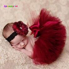 Ksummeree принцесса Клюква пачка с винтажный головной убор новорожденных Фотография реквизит Рождество юбка пачка подарок на день рождения ребенка TS078
