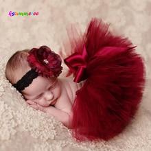 Ksummeree Princess Cranberry Tutu with Vintage Headband Newborn Photography Prop Christmas Tutu Skirt Baby Shower Gift TS078