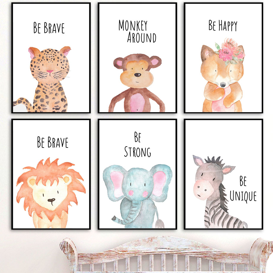Fox Koala Zebra Lion Elephant Nordic Canvas Posters And Prints Wall Art Canvas Painting Nursery Wall Pictures Kids Room Decor