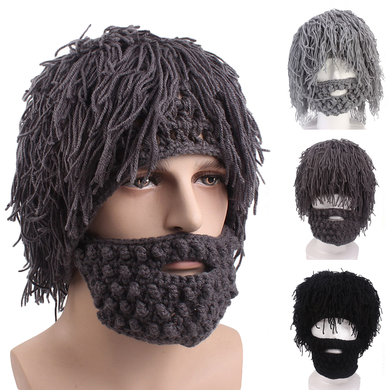 New Winter Men Handmade Wig Beard Hats Crochet Mustache Knit Halloween Party Funny Caps Face Tassel Bicycle Mask Warm Hat