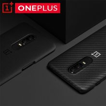Original OnePlus 6 Official Karbon Case Material Aramid fiber PC Half-round Back Cover Shell Sandstone Carbon For OnePlus6(China)