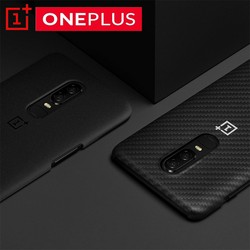 Original OnePlus 6 Official Karbon Case Material Aramid fiber PC Half-round Back Cover Shell Sandstone Carbon For OnePlus6