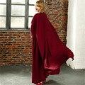 Verão Outono 6XL 7XL Vinho Vermelho Sólido Capa Até O Chão Manga Comprida Vestido de Chiffon Das Mulheres Do Vintage Elegante Camisa Robe Longue Femme