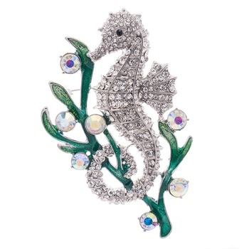 Unikalna moda emalia broszka z imitacji diamentu z austriackimi kryształami wodorosty konik morski broszka przypinki na ślub biżuteria FA3186