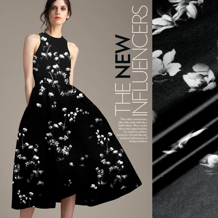 118cm wide 19mm 93 silk 7 spandex floral black silk satin fabric for summer dress shirt