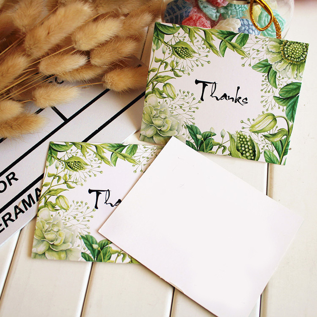 50pcs thanks Card green plants style leave message cards Lucky