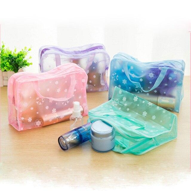 Women Travel Transparent Cosmetic Bag Zipper Trunk Makeup Case Make Up Bags Handbag Organizer Storage Pouch Toiletry Wash Bag Cosmetic Bags