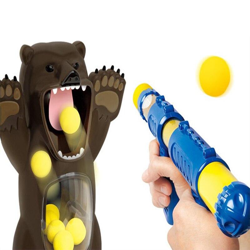 Tir à l'air balle molle pistolet mousse balle balle lancement pompe jouet ours affamé