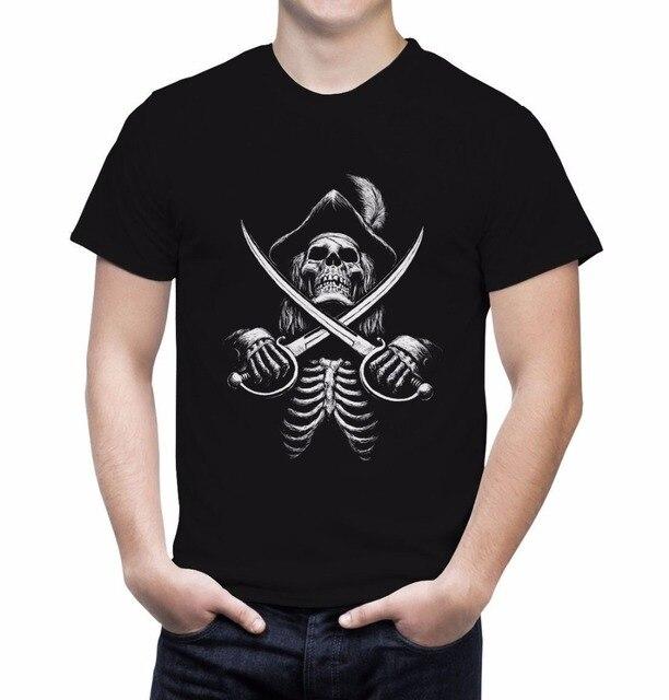 US $14 24 5% OFF|2019 New Fashion Brand Band T Shirts pirate Skull Cross  Swords Tshirt Booty Skull And Cross Bones Pirate Treasure Tee shirt-in