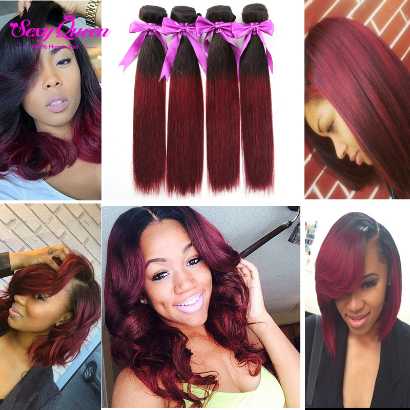 Colored Brazilian Hair Red Brazilian Weave Hair 3 Bundles Burgundy