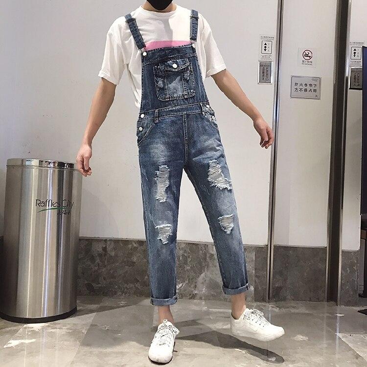 Bib Overall Jeans Ripped Off Slim Fit Jeans Jumpsuit Men Denim