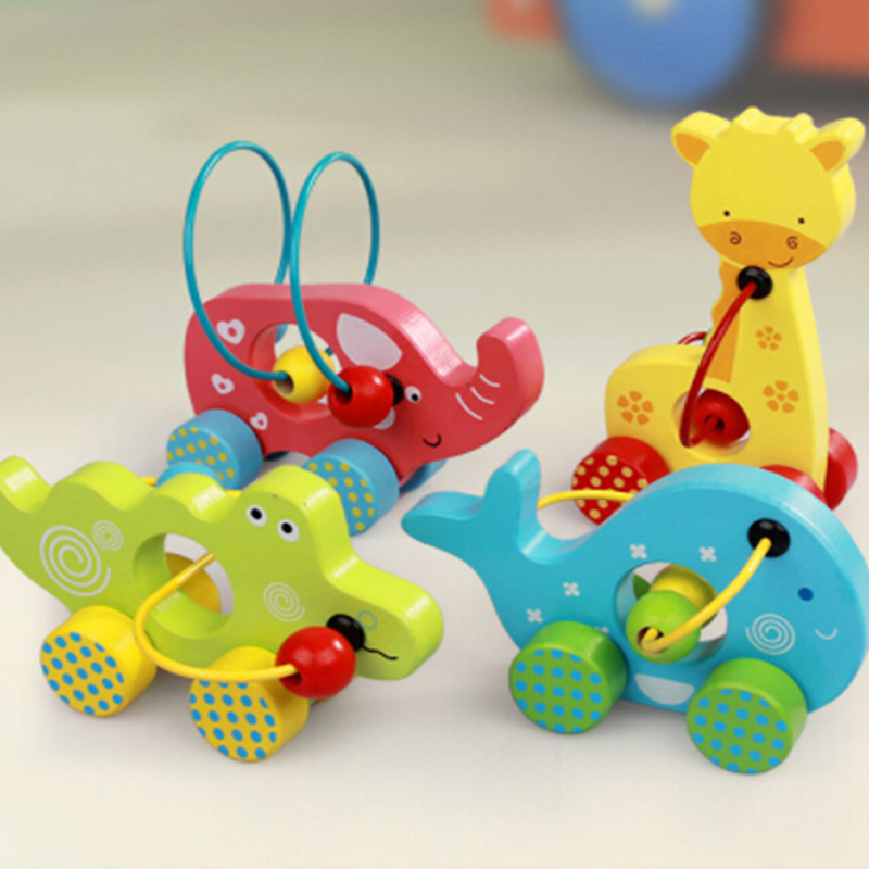 Mini Wooden Toddler Cart Counting Circles Bead Aba...