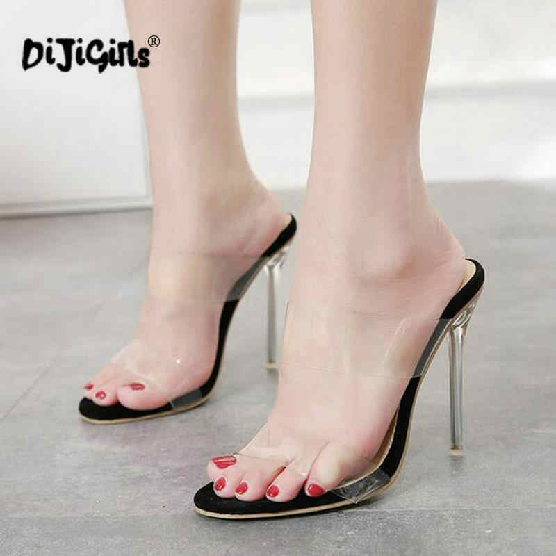 2b39e3f258 dropship PVC Jelly Sandals Open Toe High Heels Women Transparent Perspex  Slippers Shoes Heel Clear Sandals