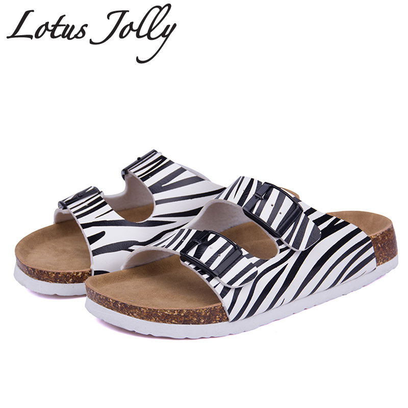 Lotus Jolly 2017 Women Slides Cork Slippers Sandals Casual Shoes Double Buckle Clogs Sandalias Flip Flops Flats Plus Size35-43 summer women casual jelly shoes beach slippers breathable waterproof clogs for women hollow slippers flip flops shoes mule clogs