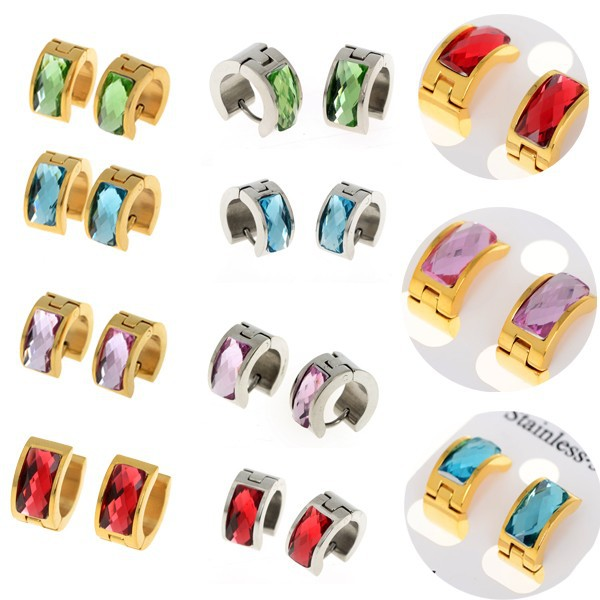 1 pair Fashion Punk Women Men Stainless Steel Bling Crystal Stud Earrings Huggie Ear Studs Gold Silver Color Free