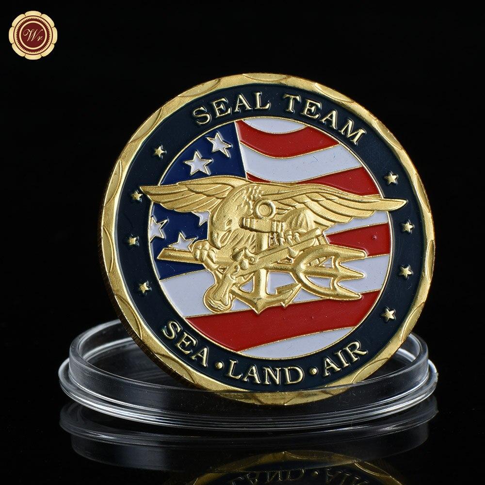 WRธุรกิจของขวัญของที่ระลึก24พันทองชุบโลหะเหรียญคุณภาพสหรัฐอเมริกากองทัพท้าทายเหรียญกับกร...
