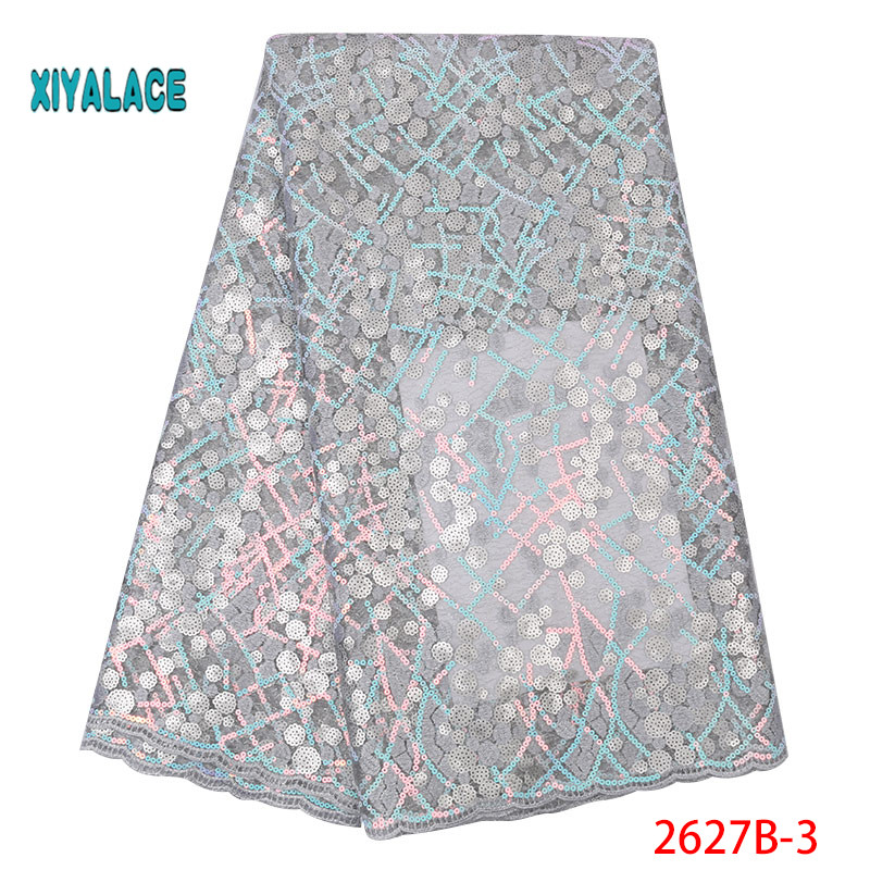 Silver 2019 Nigerian African Lace Fabric High Quality For Wedding Party Dress French Tulle Organza Sequins Lace Fabric YA2627B-3