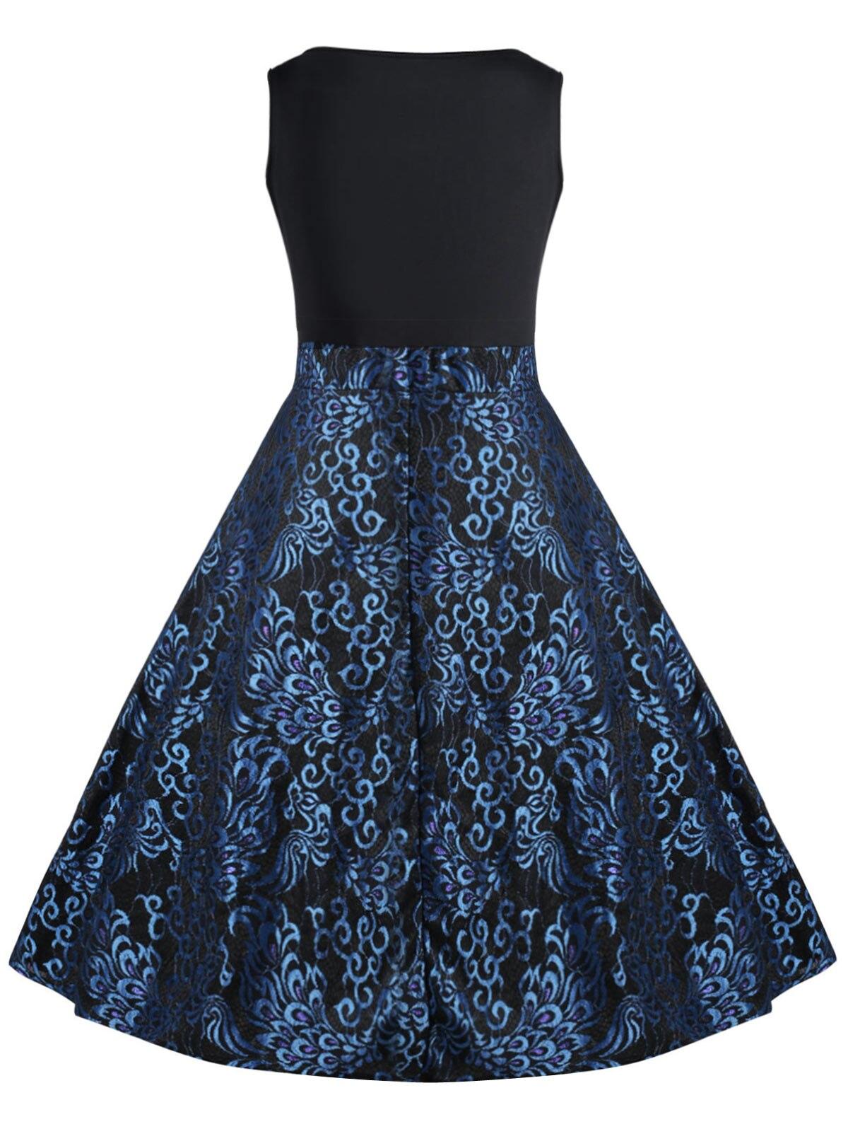US $14.14 Wipalo Frauen Plus Größe XL 14XL Paisley Midi 19140 s Vintage  Kleid Neue Mode Frühjahr V ausschnitt Midi Pin Up Party Kleid vestido