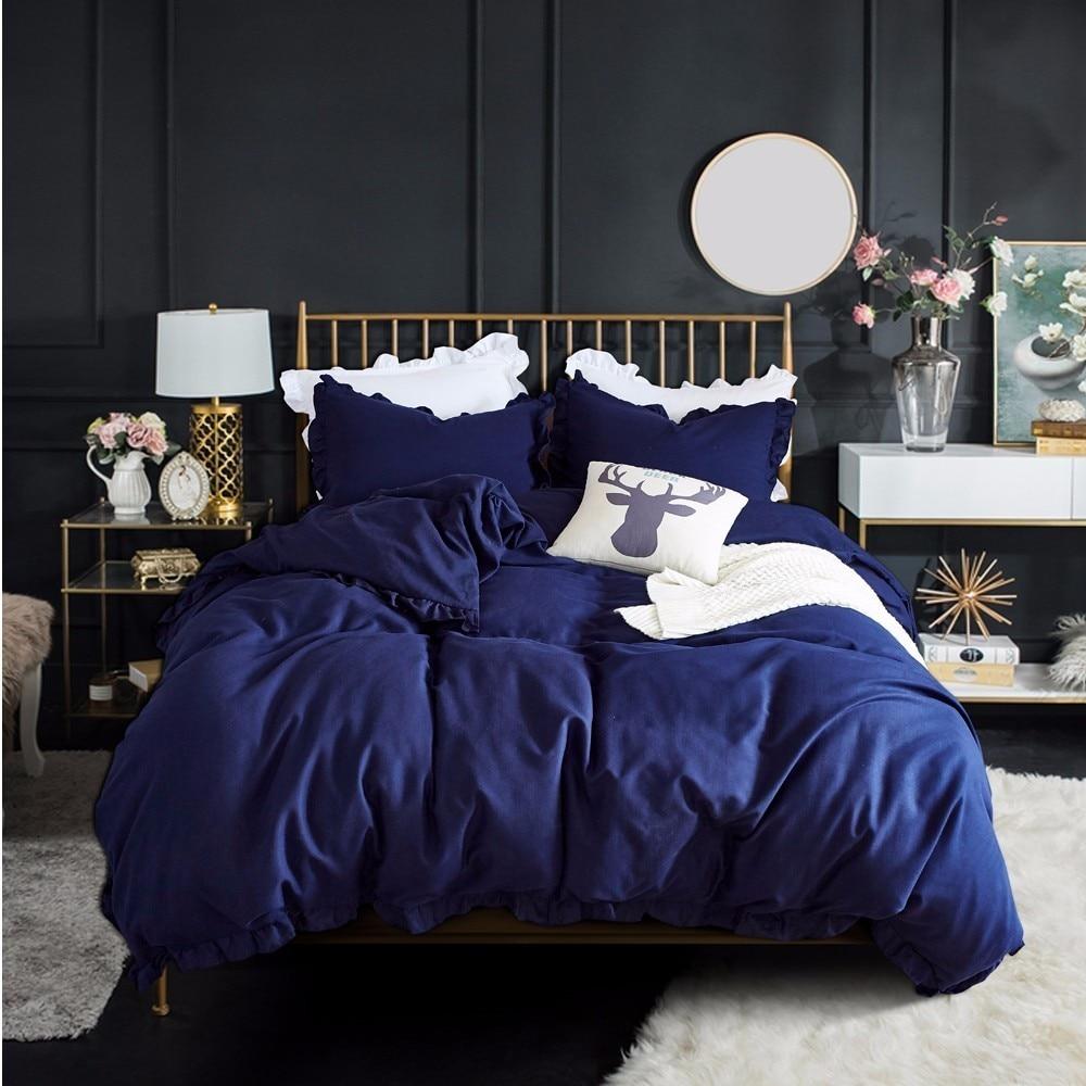 western navy blue bedding set elegant ruffles duvet cover set bed linen quilt cover twin queen king wedding gift houseroom decor
