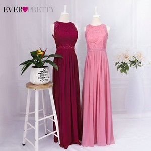 Image 5 - Robe Longue Dentelle Bridesmaid Dresses 2020 Ever Pretty New Arrival A line Sleeveless Burgundy Women Wedding Guest Party Gowns