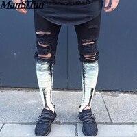 2017 The Latest Fashion Tie Dye Hole Destroyed Mens Slim Denim Straight Biker Skinny Jeans Men