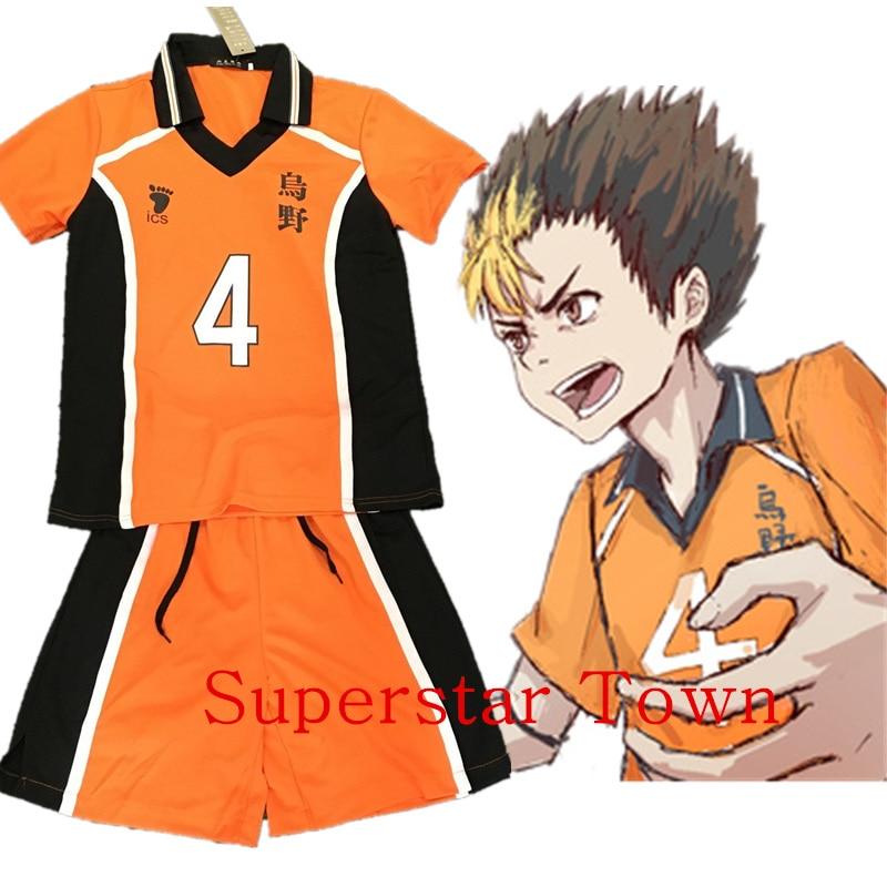Haikyuu Nishinoya Cosplay High School Uniform Jersey Costume Nishinoya Yuu Number 4 T-shirt And Pants Superstar Town
