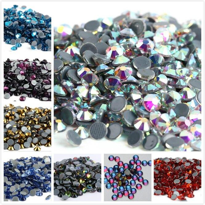 כל גדלים 40 צבעים קריסטל AB תיקונים Rhinestones, זכוכית Strass תיקונים ברזל על Rhinestones לנייל אמנות תפירה & בד Decoretion