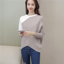 2018 Spring and autumn new stylish o-neck contrast color student sweater womens fashion knitted