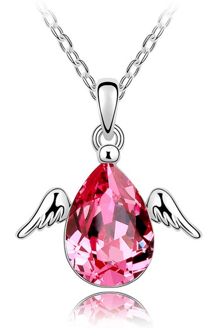 Austrian crystal Little wing Angel pendant necklace lover gifts top quality Fashion Jewelry Free drop Shipping accessories party