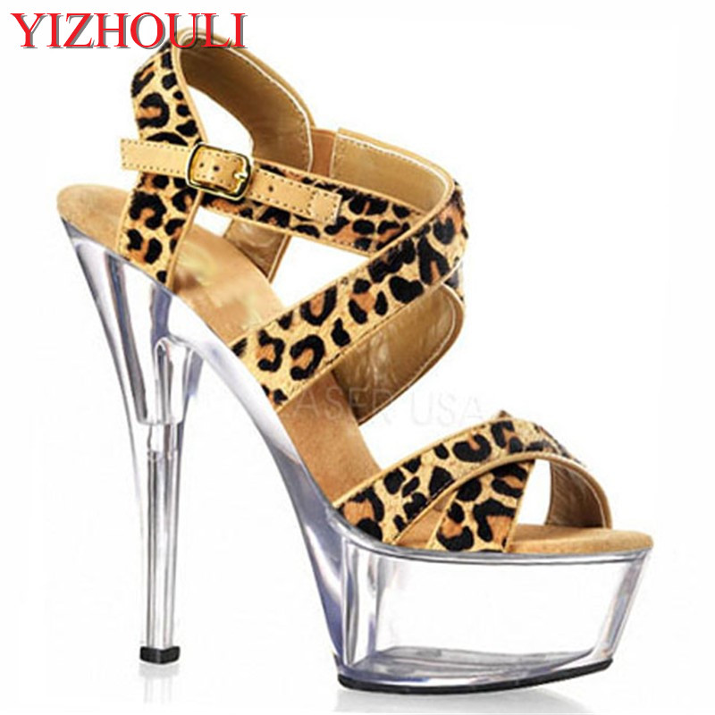 Summer women's sexy platform leopard print high heels 15cm pole dancing sandals 6in exotic dancing shoes