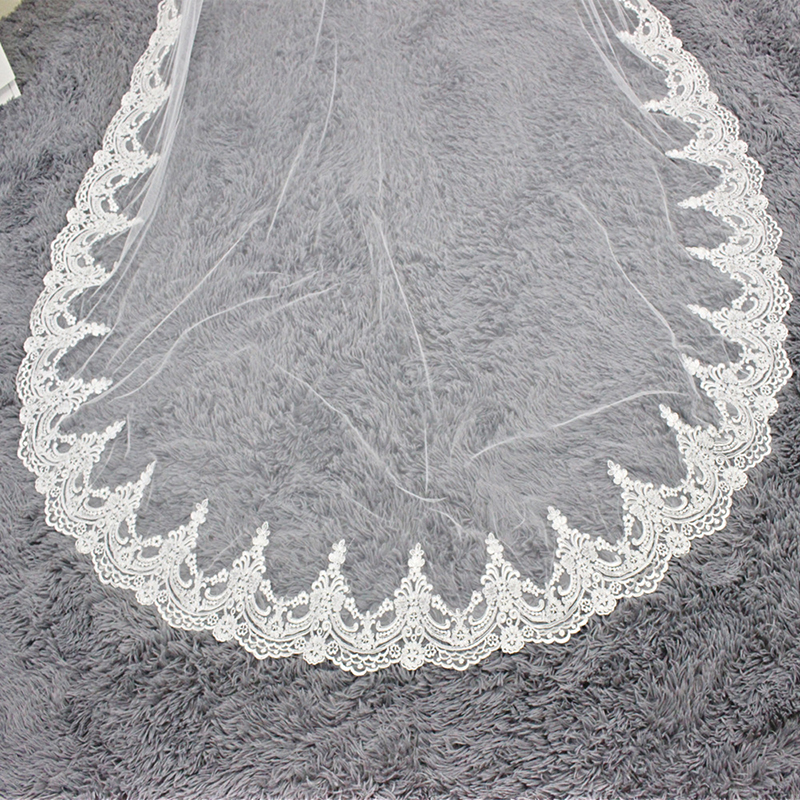 Voile Mariage White Ivory Cathedral Wedding Veil One Layer Lace Edge Long Bridal Veil Cheap Wedding Accessories Fast Shipping
