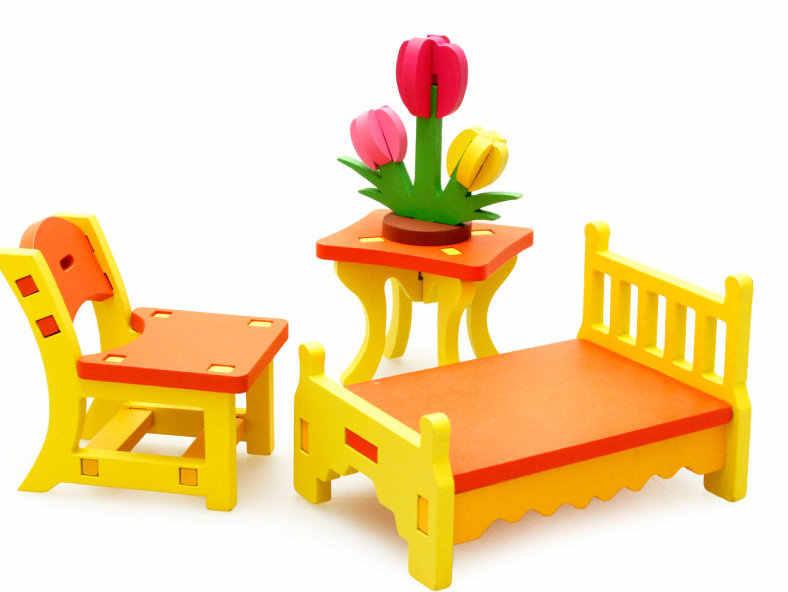 Бесплатная доставка деревянные детские игрушки гостиной туалетный столик спальня качалка деревянный стул лошадь Ect Игрушка Дети 3D Сборная Мебель набор игрушек