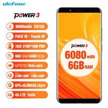 Ulefone Power 3 Smartphone 4G Android 7.1 Octa-core 6 GB und 64 GB 6,0 Zoll Hallo-fi Gesichtserkennung Quad Kameras 6080 mAh handy