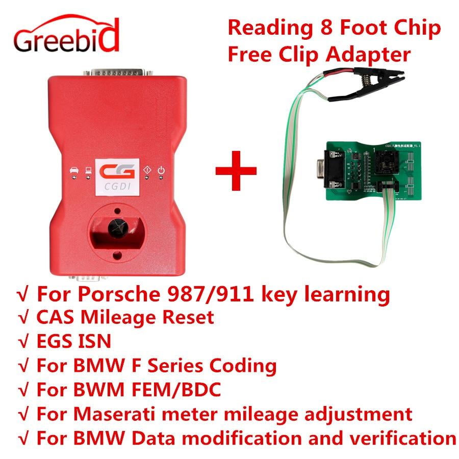 CGDI MSV80 Prog para BMW Auto Programador Chave + Ferramenta de Diagnóstico + IMMO Segurança 3 em 1 Obter Leitura Livre 8 Chip de pé Livre Adaptador de Clipe