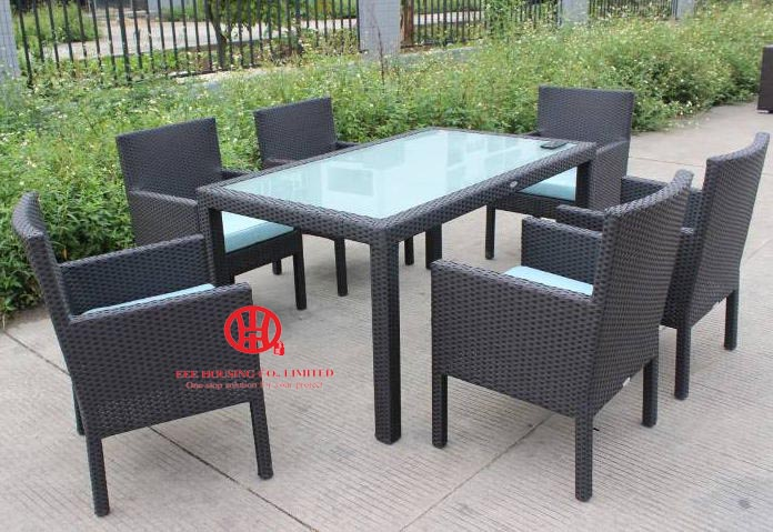 Outdoor Rattan Elegant Dining Table,Elegant Garden Aluminum Dining Table And Rattan Chair