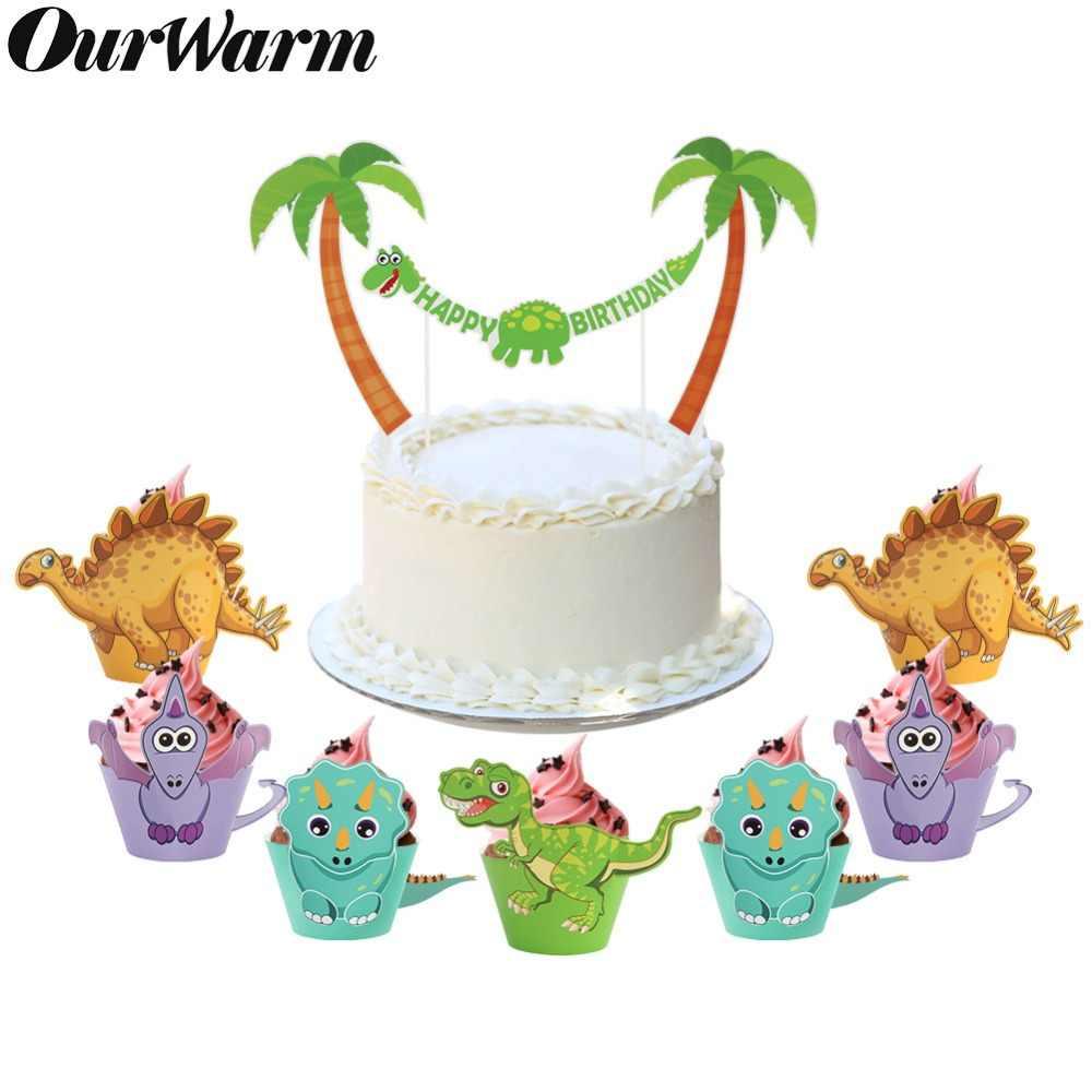 Ourwarm 12 Pcs Kartun Dinosaurus Cupcake Wrapper Pesta Ulang