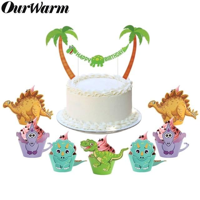 OurWarm 12 Adet Karikatür Dinozor Cupcake Sarıcı Doğum Günü Partisi Süslemeleri Çocuklar Iyilik DIY Dino Bebek Duş Tatlı masa süsü