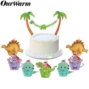 Image 1 - OurWarm, 12 Uds., envoltorio de dibujos de dinosaurio para cupcakes, decoraciones para fiesta de cumpleaños, recuerdo para niños, Decoración de mesa DIY de Dino Baby Shower, postre