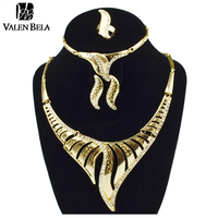 VALEN BELA Ethiopian Jewelry Colar Feminino Indian Joias Ouro 18k Gold Women Earrings Necklace Sieraden Sets