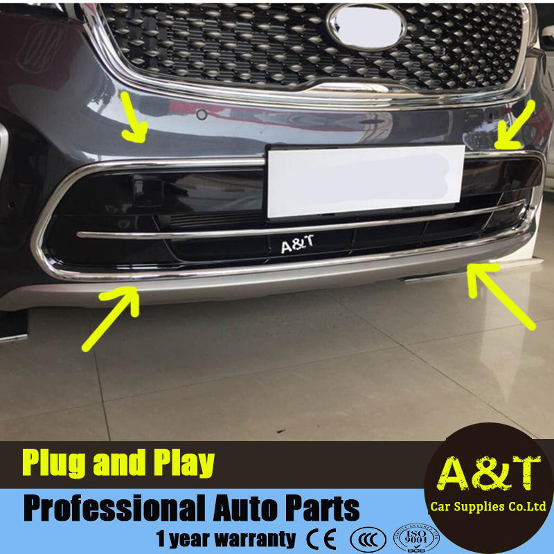 Chrome Front below Grille Around cover trim trims For 2015 KIA Sorento BIG high quality chrome stickers trim car styling 1pc Car high quality for toyota highlander 2015 2016 car cover bumper engine abs chrome trims front grid grill grille frame edge 1pcs