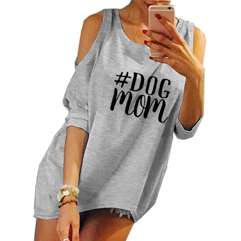 2018 New Fashion Dog Mom Print Harajuku Tshirt T-Shirt Female Tumblr Funny Cute Rock Japan