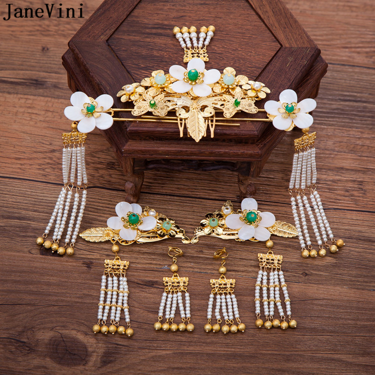JaneVini Vintage Chinese Bridal Headdress Tassels Gold Hairpin Wedding Crown and Earring Women Wedding Jewelry Hair Accessories недорго, оригинальная цена